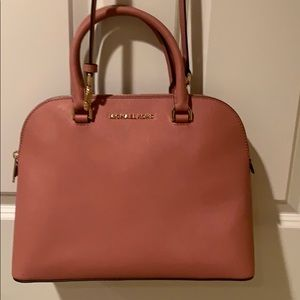 Michael Kors Rose Pebbled Large Dome Satchel Bag